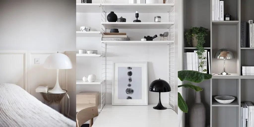 panthella table mini biała czarna srebrna lampa stołowa nocna na biurko