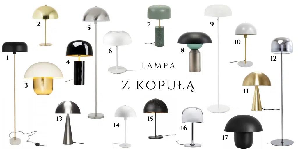 lampa z kopuła metalowa lampa na cienkiej nodze podłogowa stołowa grzybek