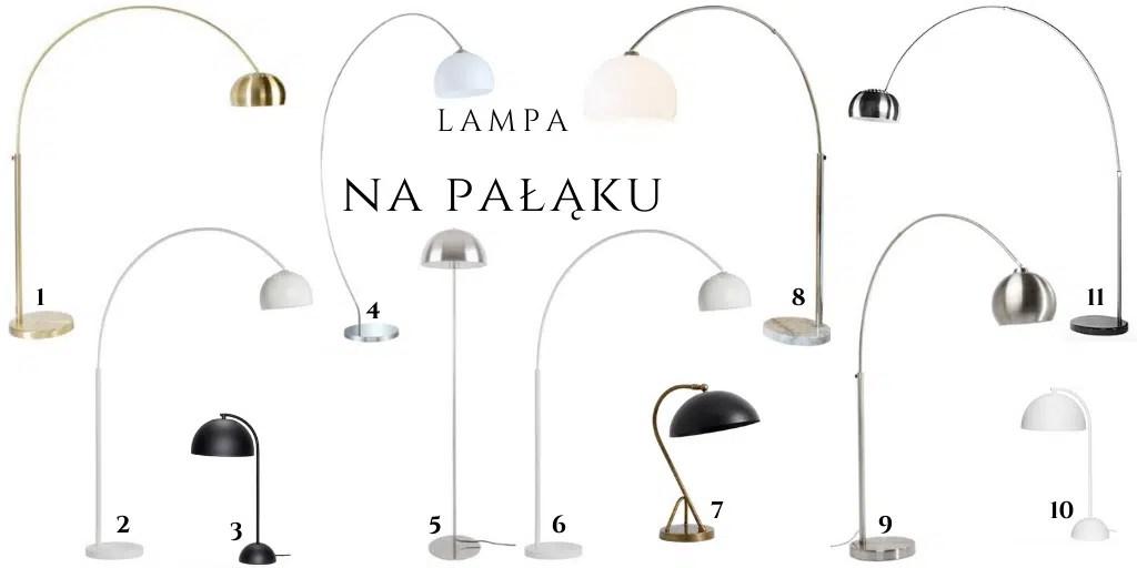lampa z półokrągłym kloszem stojąca podłogowa na pałąku wysoka jak arco