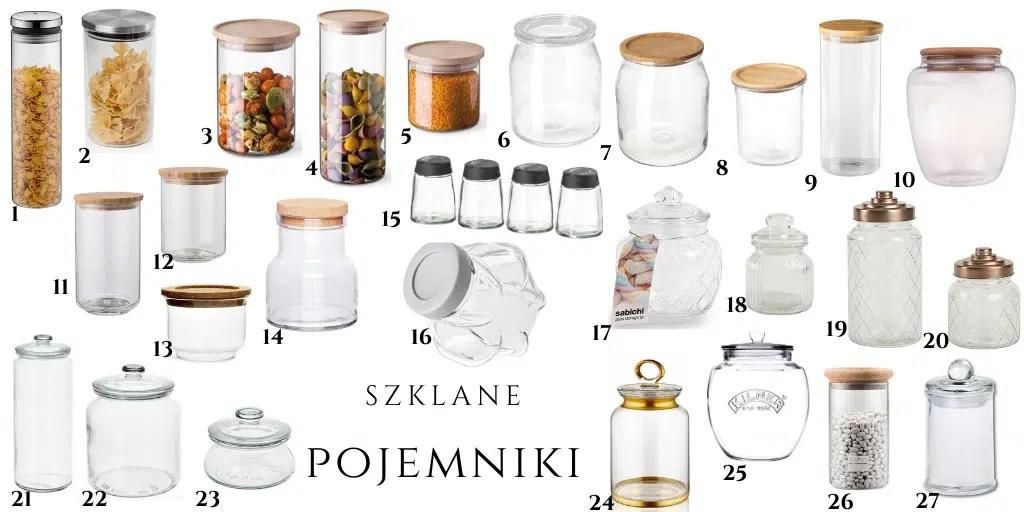 szklane przezroczyste pojemniki do przechowywania żywności kuchenne