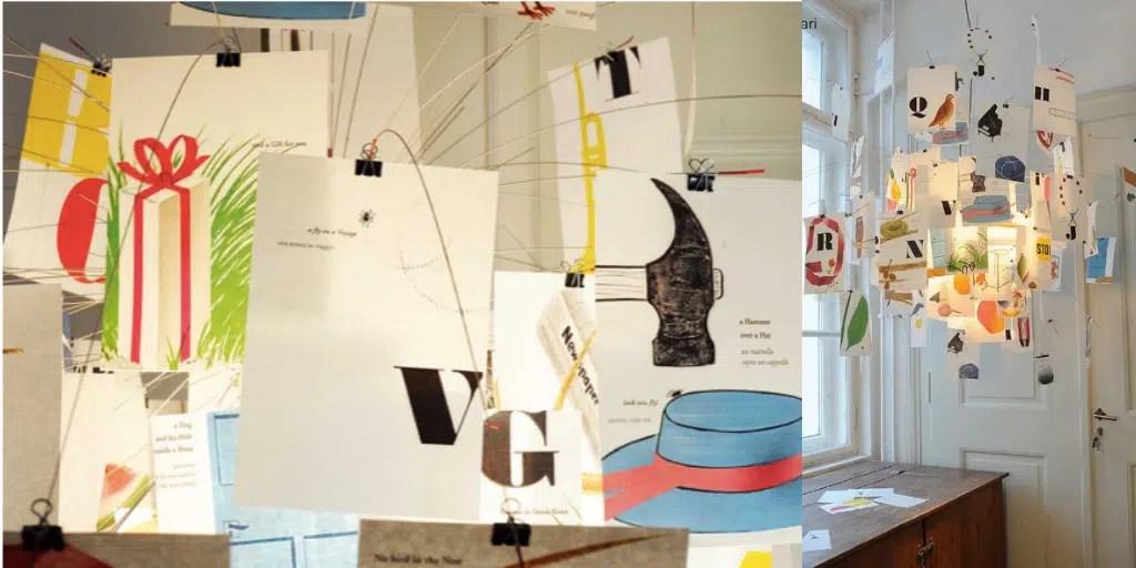 Zettel'z Munari Illustriertes Alphabet von Bruno Munari INGO MAURER UND TEAM  2018 lampa z karteczkami kolorowymi literki alfabet