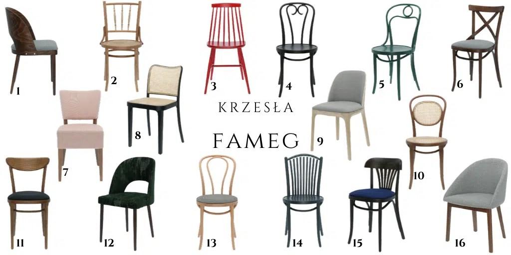 FAMEG drewniane krzesła do jadalni