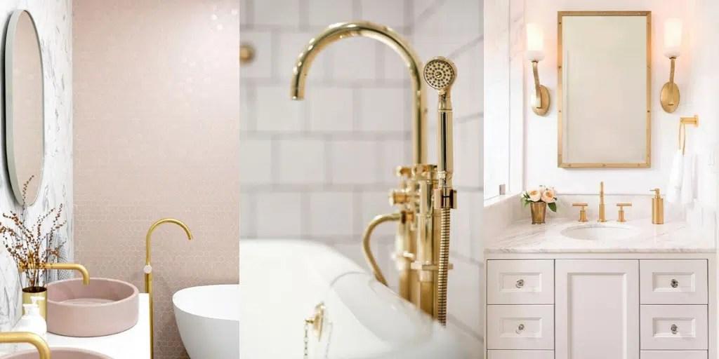 złota armatura do umywalki i wanny