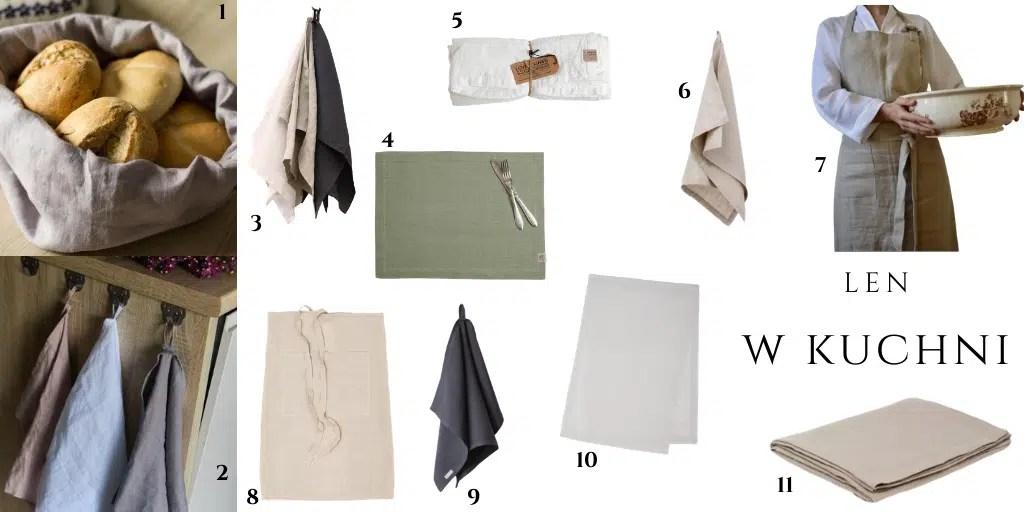 lniane dodatki do kuchni ściereczki kuchenne ręczniki fartuch