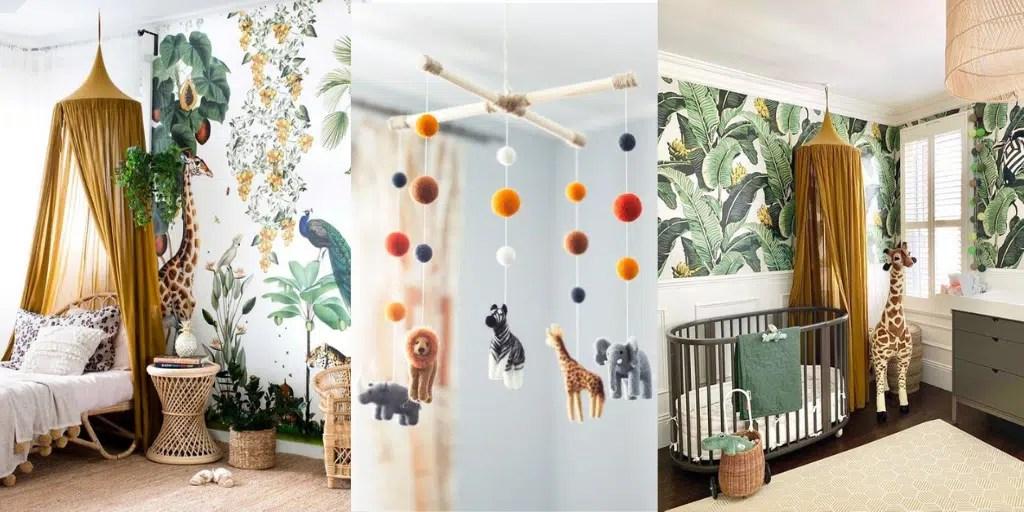 pokój dla dziecka tropikalna dżungla na tapecie liście żółty baldachim na łóżkiem