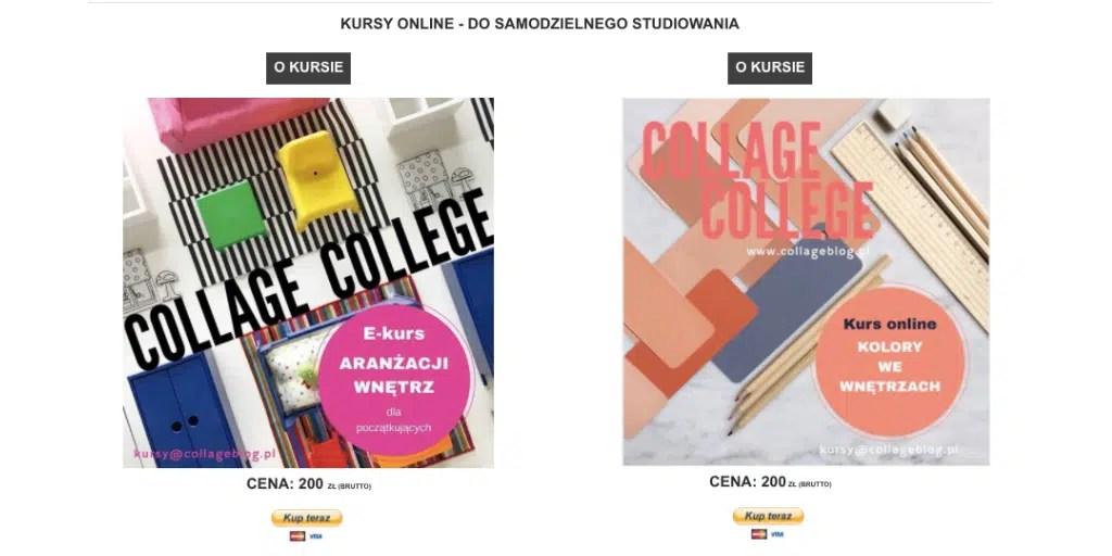 collage blog kurs o aranżacji wnętrz kolory we wnętrzach