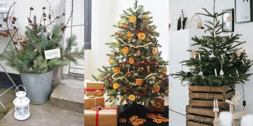 naturalne dekoracje świąteczne choinka z naturalnymi ozdobami