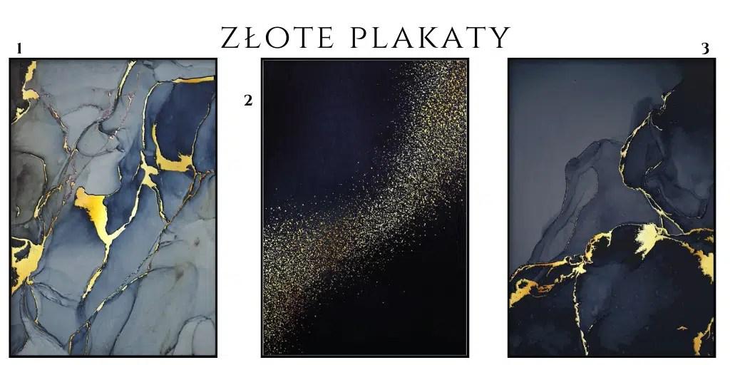 złote plakaty niebieskie ciemne granatowe woda marmur farba ze złotem