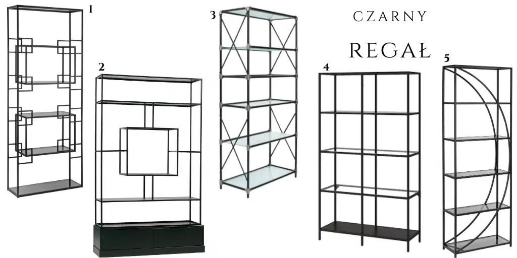 czarny metalowy regał ze szklanymi półkami elegancki do salonu