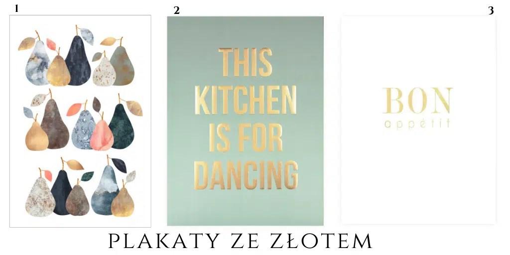 złoty plakat do kuchni z napisem owocami