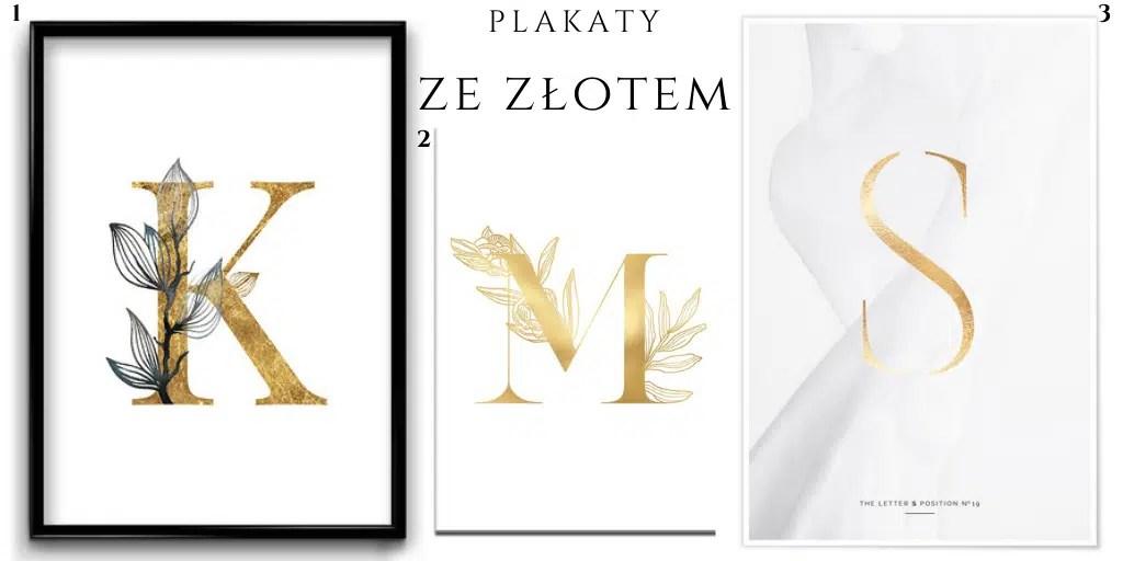 plakat ze złotą literą mieniąca się