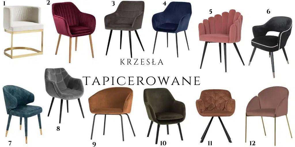 krzesła tapicerowane do stołu stonowane z podłokietnikami fotele do jadalni