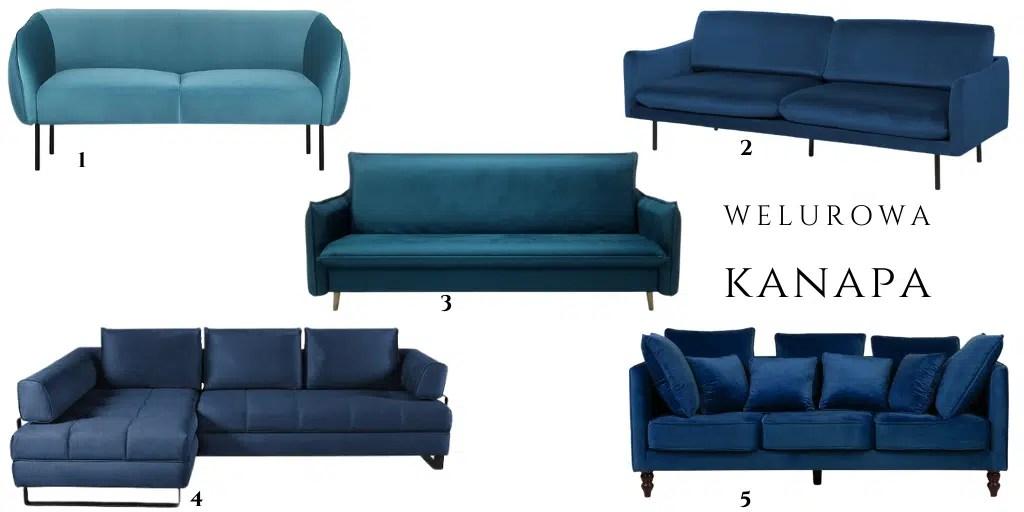niebieska sofa z weluru z poduszkami rozkładana