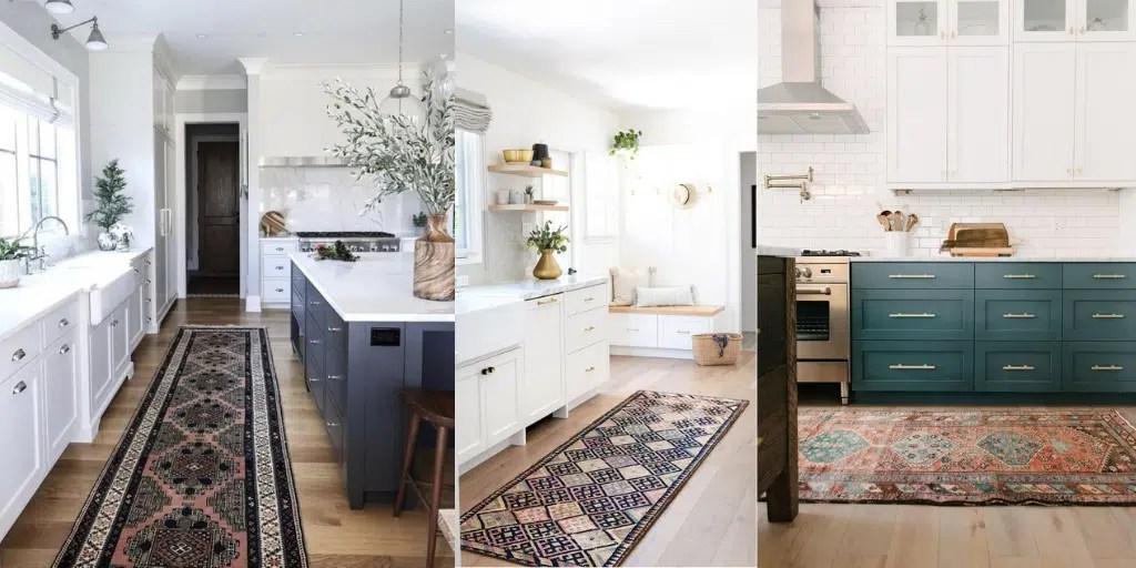 chodnik w stylu vintage w kuchni ciemny