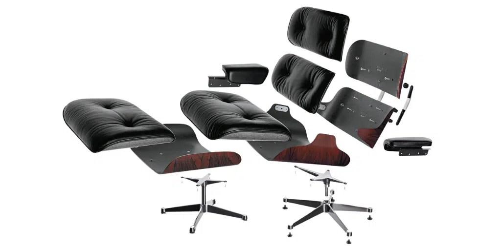 budowa lounge chair vitra fotel z podnóżkiem