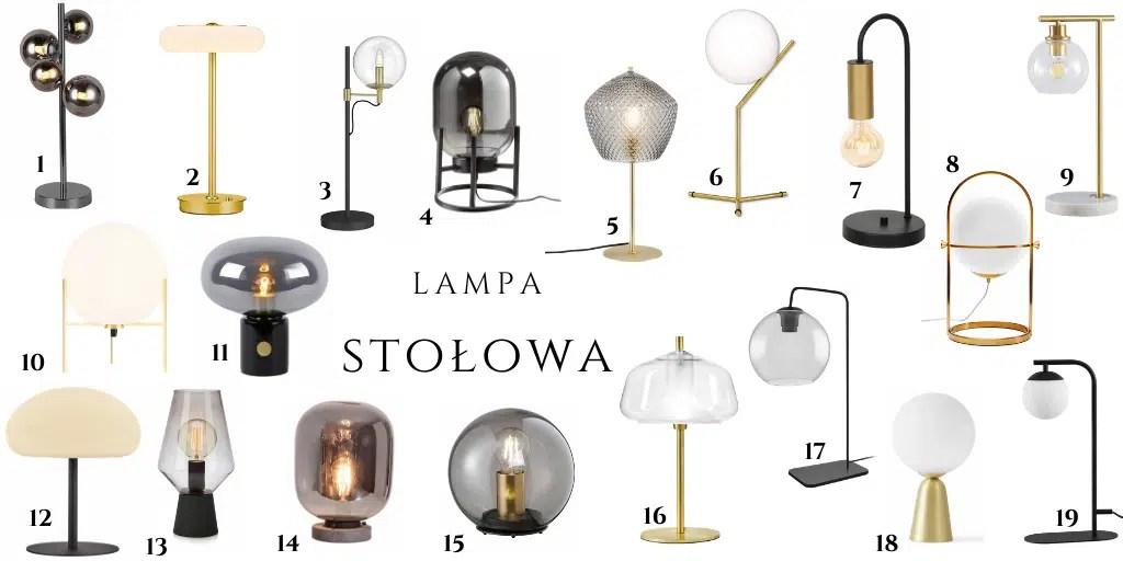 lampa stołowa obok kanapy ze szklanym klosze okrągła kula elegancka czarna złota przydymiona lampy.pl