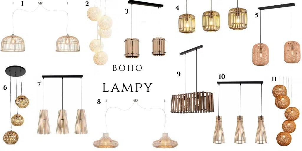 lampa dwupunktowa podłużna z kilkoma kloszami z bambusa rattanu drewna