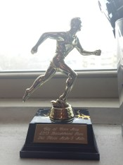 In September, I won a trophy for the firs time (in the first race I ever had to stop and retie my shoes - TWICE, no less!)