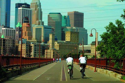Biking in Minneapolis.