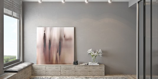 abstract-painting-wooden-shelf-white-flowers