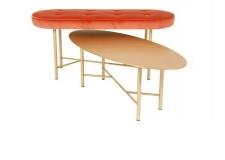 Banc en laiton et velours & coffee table en laiton © HOME AUTOUR DU MONDE – BENSIMON