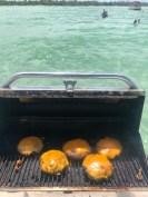 Cheeseburgers at the sandbar