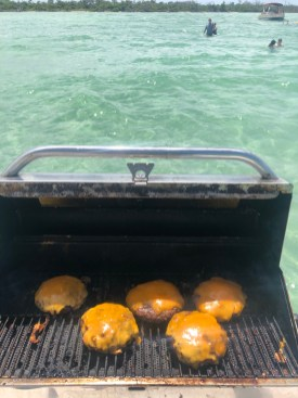 Cheeseburgers at the sandbar