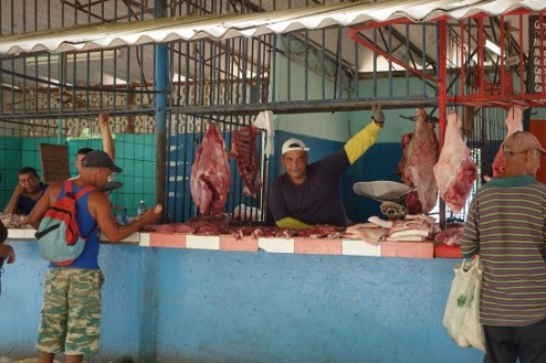 Meat Stall in Farmers Market in Camaguey