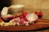 Chop up the onion and garlic