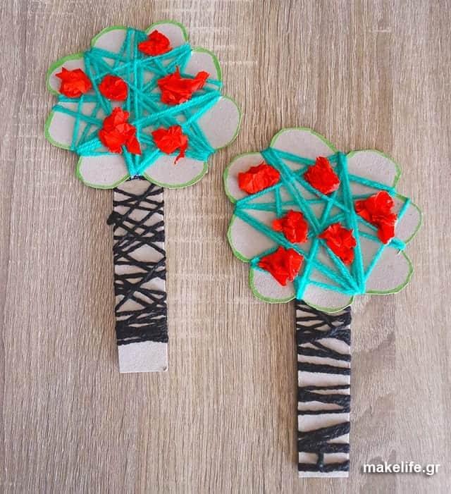 Kids craft with yarn - Παιδική κατασκευή με μαλλί πλεξίματος και χαρτόνι