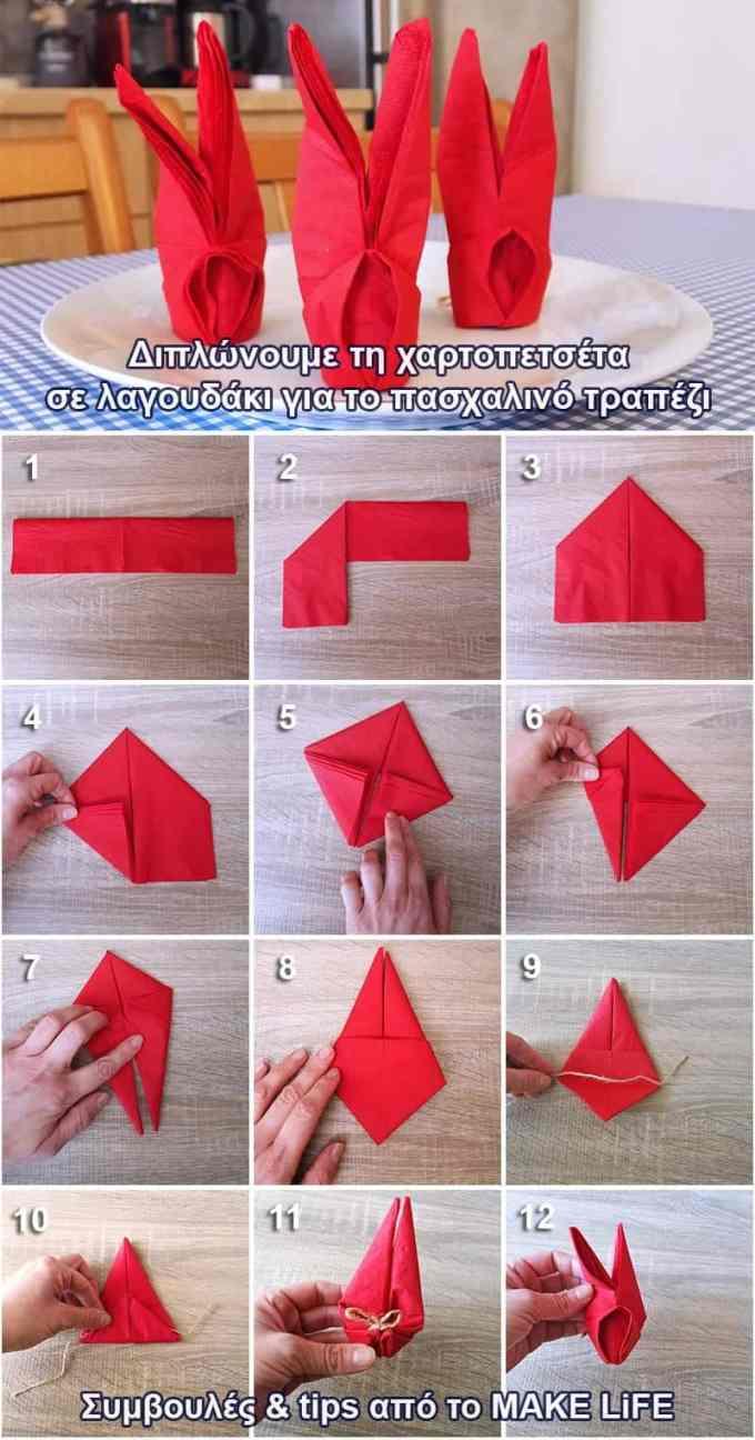 DIY Bunny Napkin - Δίπλωμα χαρτοπετσέτας σε σχήμα λαγού για το πασχαλινό τραπέζι
