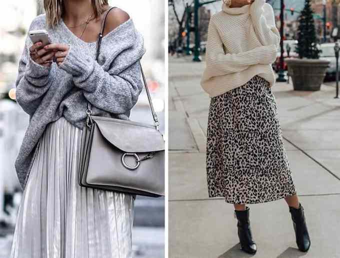how to wear an oversized sweater with skirt - Πως να φορέσεις το oversized πουλόβερ αυτό το χειμώνα