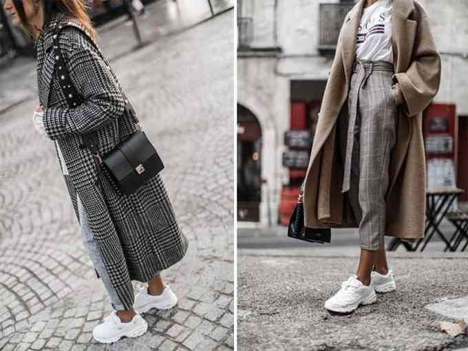 Μακρύ παλτό και sneakers