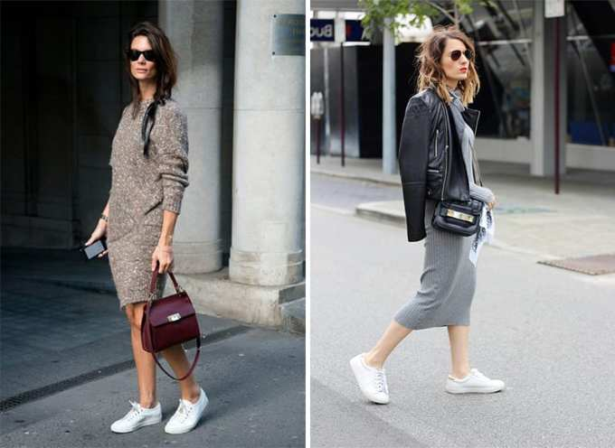 Η μόδα του χειμώνα θέλει πλεκτό φόρεμα με αθλητικά παπούτσια.