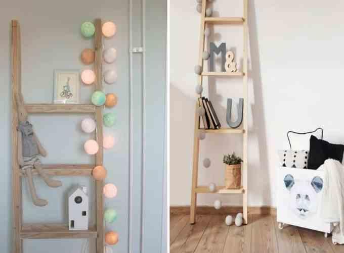 ladder decoration nursery room - Πως μπορείς να χρησιμοποιήσεις μια σκάλα στη διακόσμηση σπιτιού