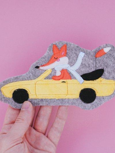 Stickdatei Auto mit Fuchs