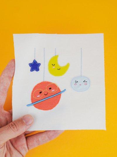 Stickdatei Planeten / Kosmos / Mond / Sterne