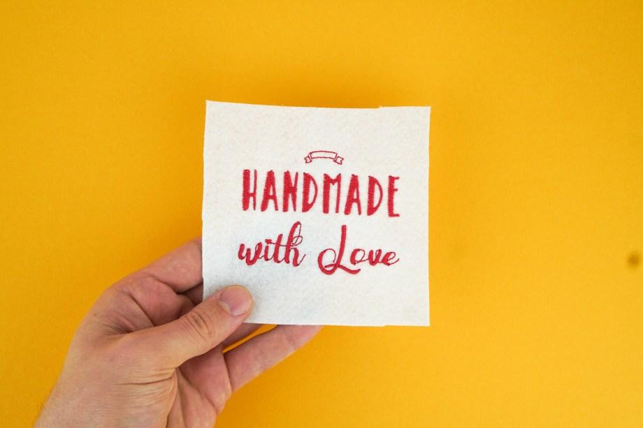 Stickdatei Handmade with Love, Anwendungsbeispiel