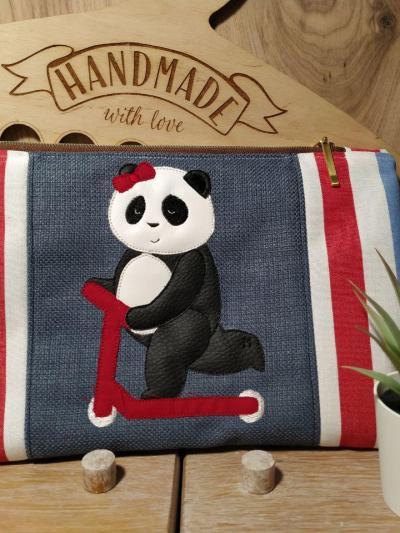 Stickdatei Panda auf Tasche von Klara.Fall.Vernaeht