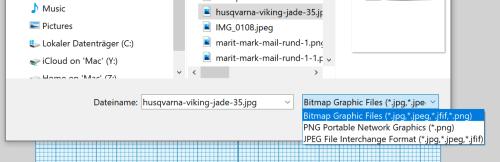 JPEG in Stickprogramm laden