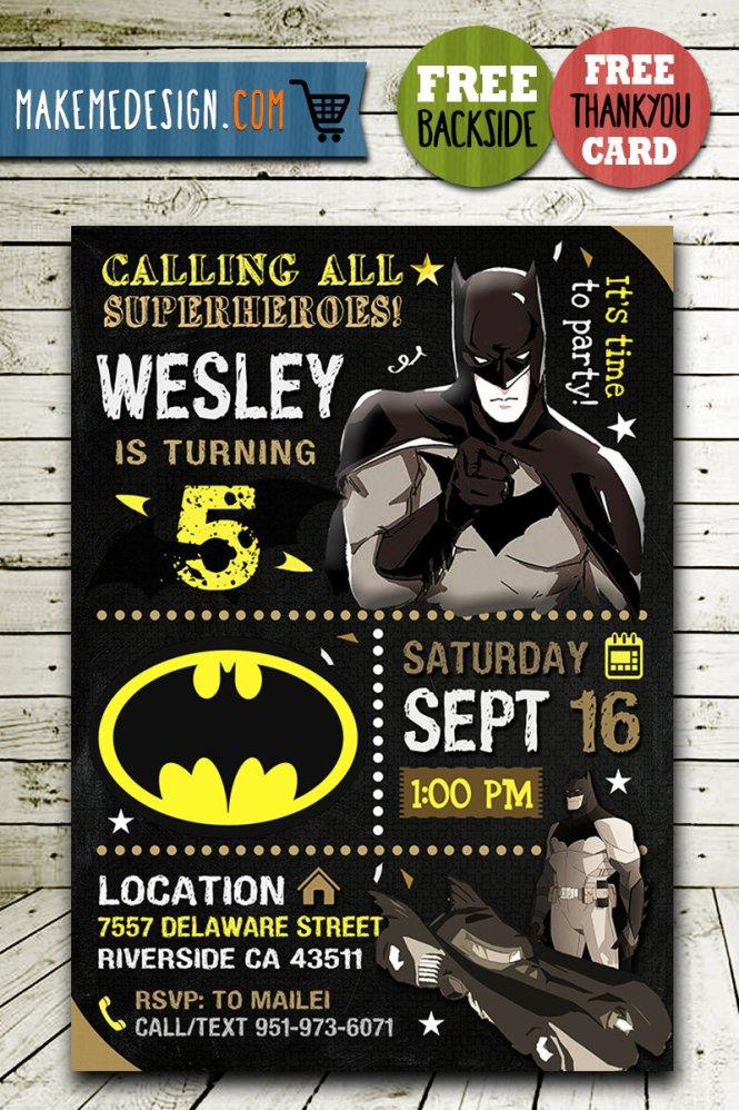Batman Invitations Printables