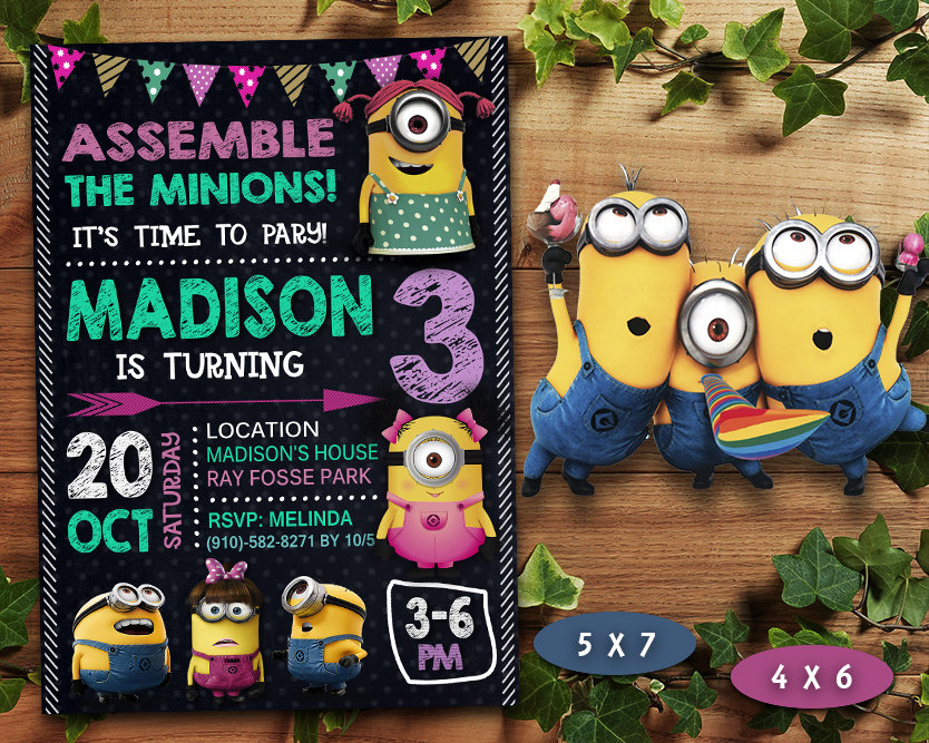 minions girl invitation minions girl invite minions birthday party minions printable minions card diy