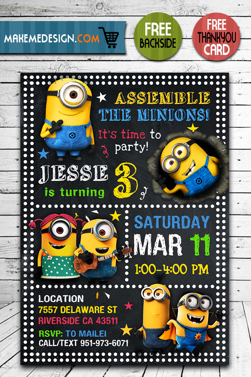 minions invitation minions invite minions birthday party minions printable minions card diy