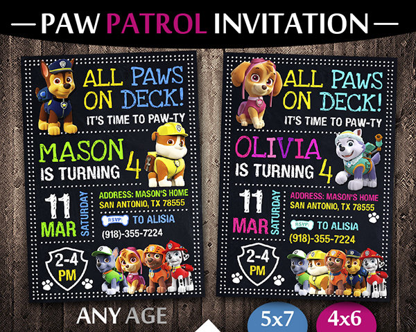 paw patrol party ideas card paw patrol invite paw patrol birthday party printable paw patrol