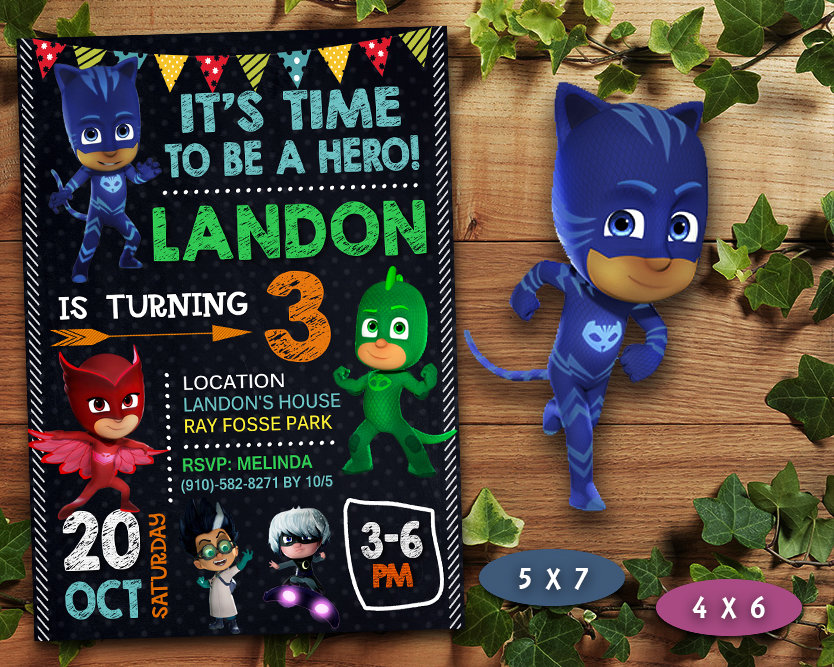 pj masks birthday invitation pj masks invite pj masks birthday party pj masks printable pj masks card diy