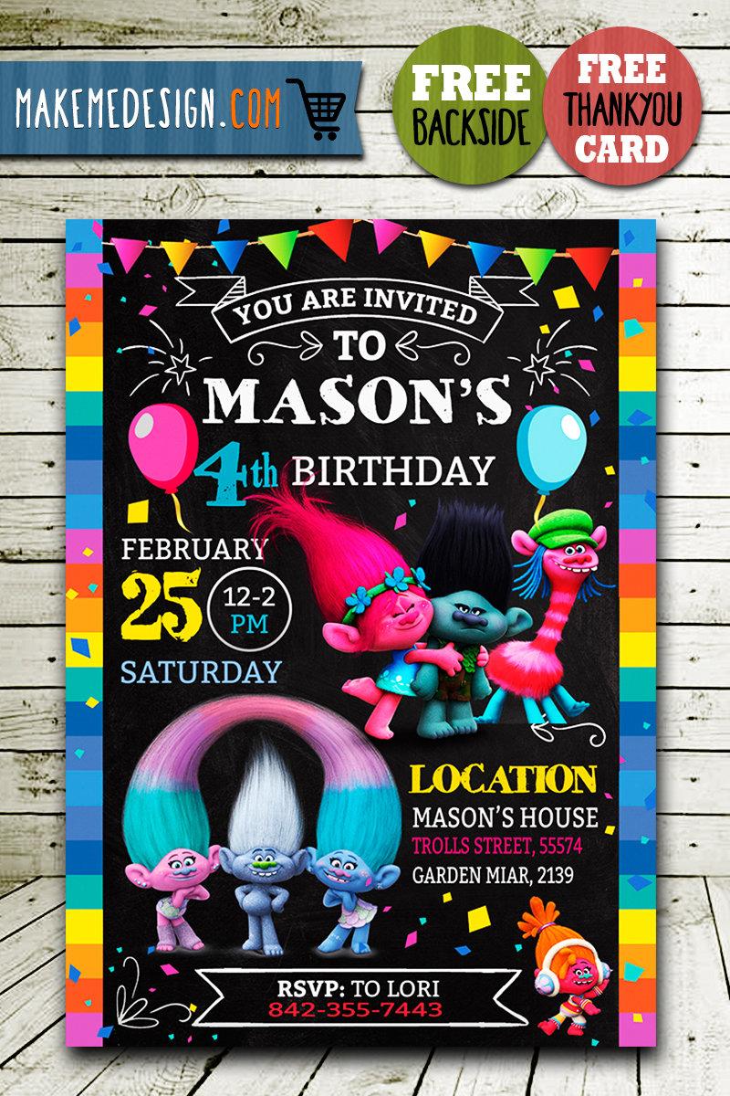trolls invitation trolls invite trolls birthday party trolls printable trolls card diy
