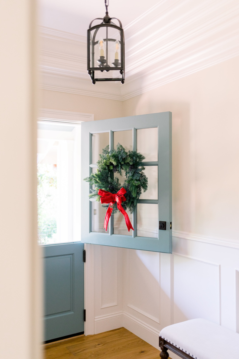Dutch Door Open with Wreath and Foyer Pendant