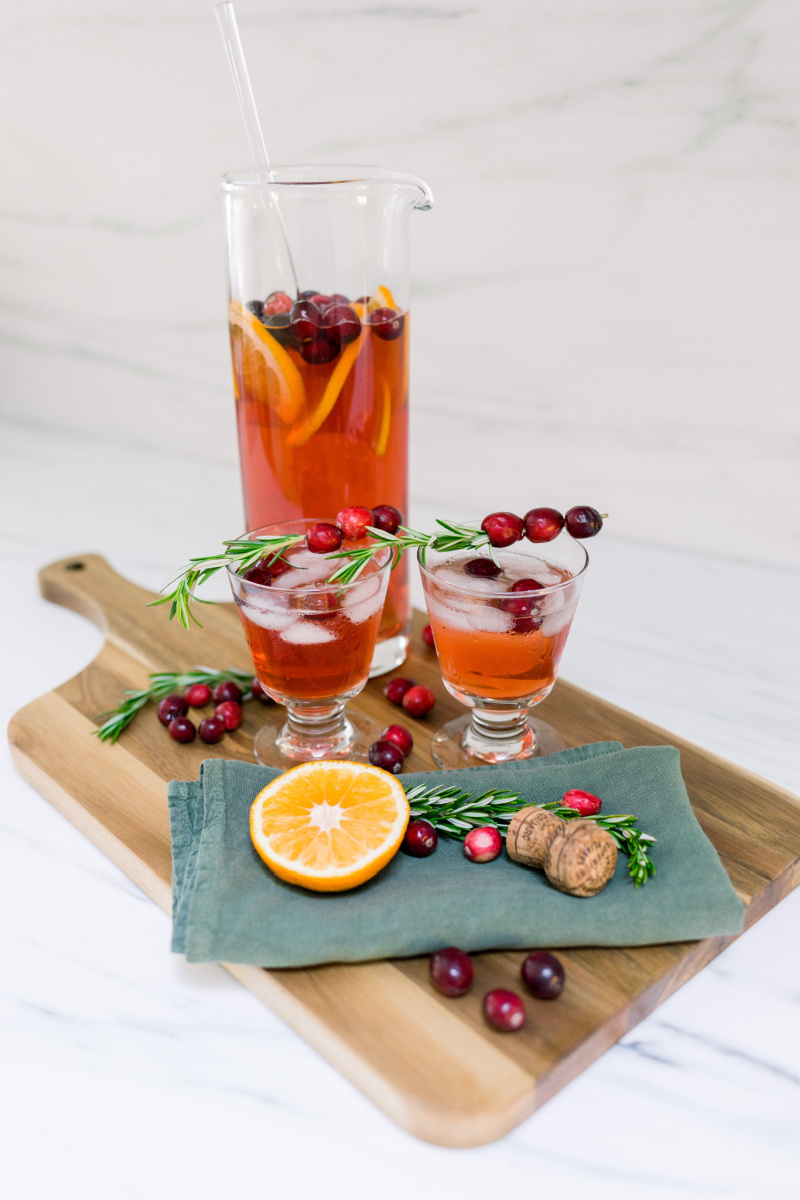Cranberry Tequila Punch in Pitcher and Wine Glasses
