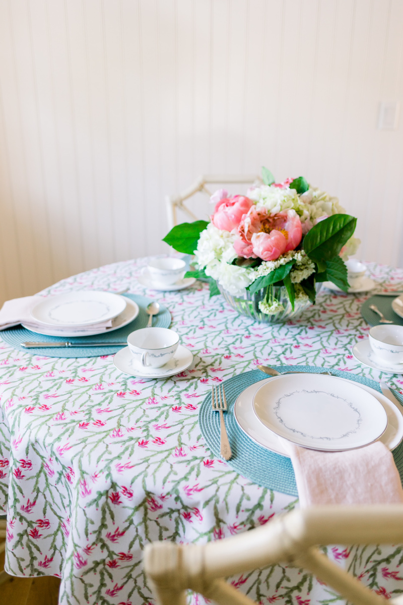 Pink and Green Table Cloth