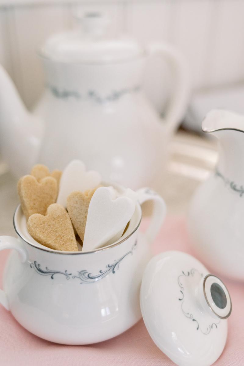 Heart Shaped Sugar Cubes and Tea Pot